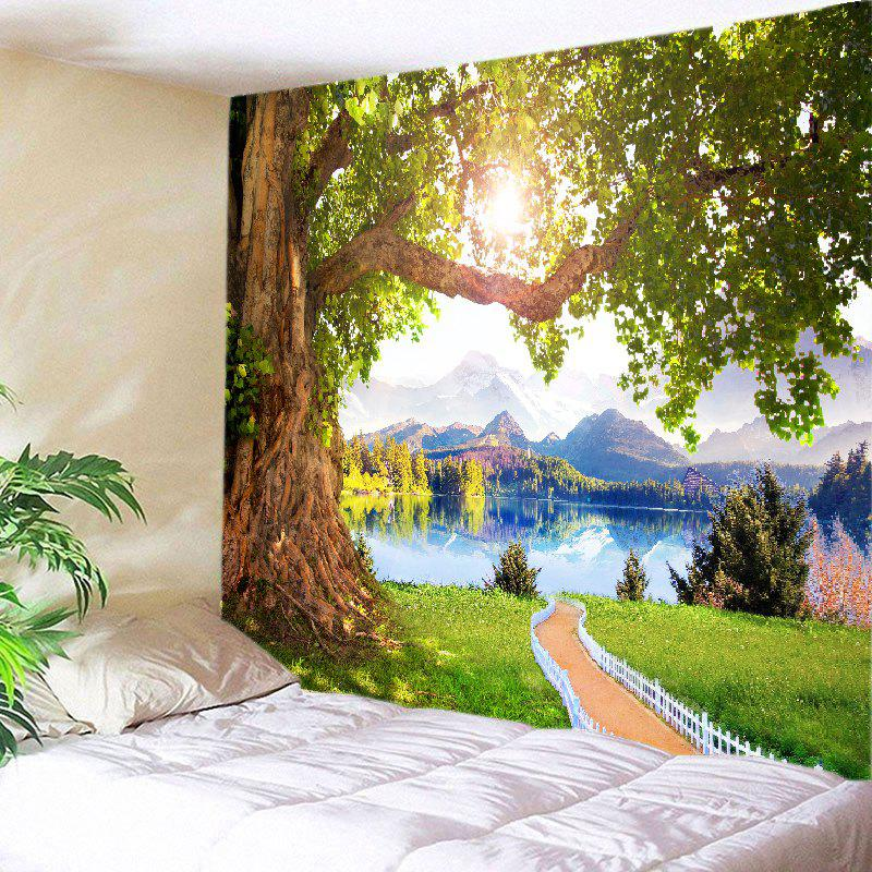 Mountains Lake Path Print Tapestry Wall Hanging Art - GREEN W59 INCH * L59 INCH