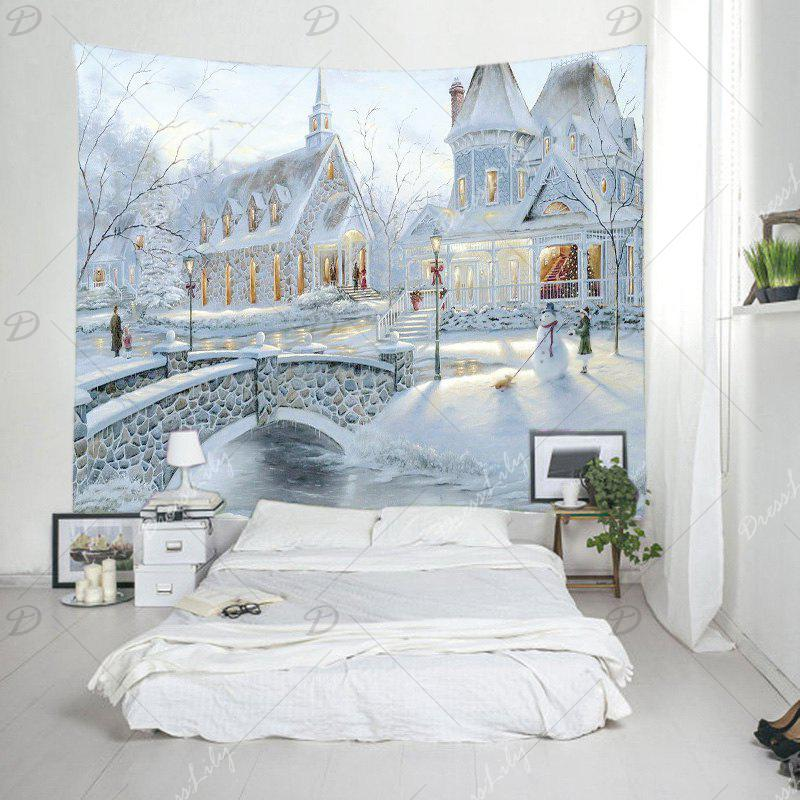 Snow House Print Tapestry Wall Hanging Art - WHITE W91 INCH * L71 INCH