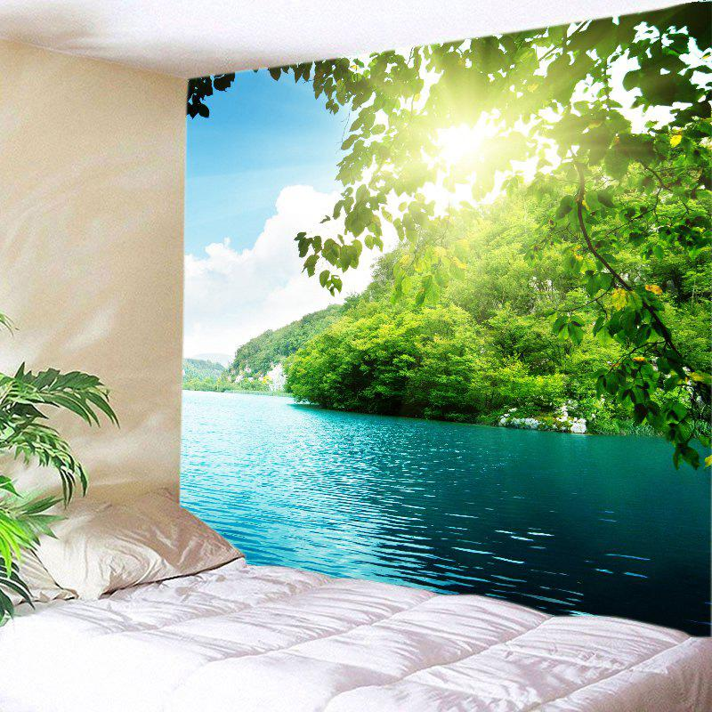 Mountain Sunlight Lake Print Tapestry Wall Hanging Art - GREEN W91 INCH * L71 INCH
