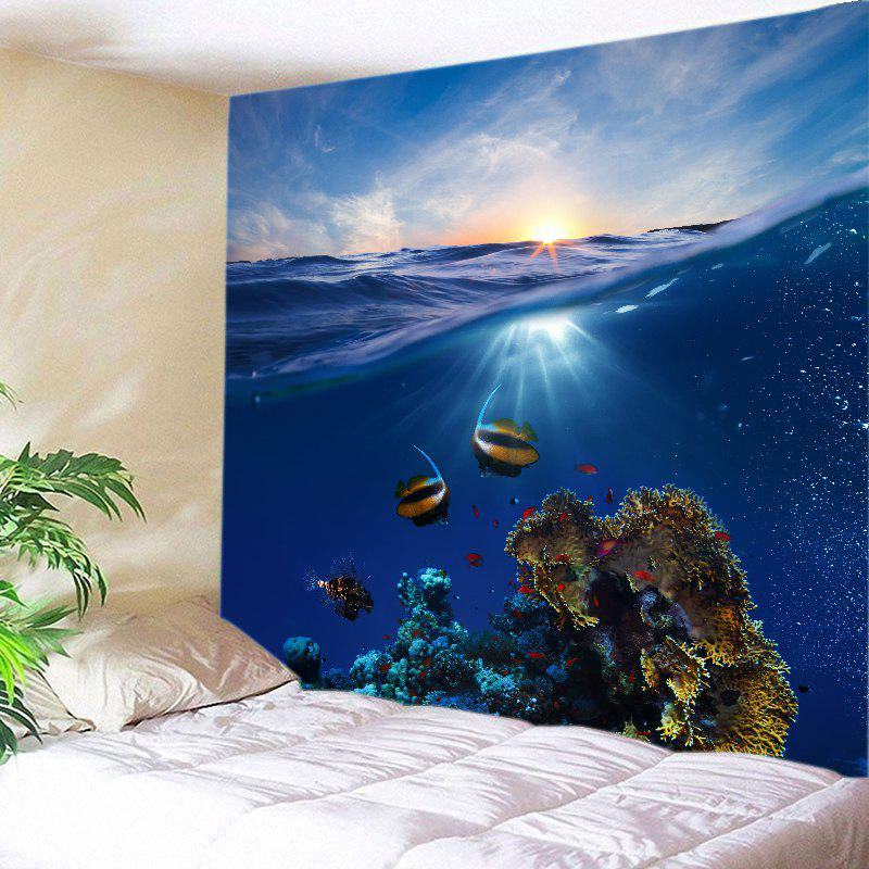 Ocean Fish Print Tapestry Wall Hanging Art - DEEP BLUE W79 INCH * L71 INCH