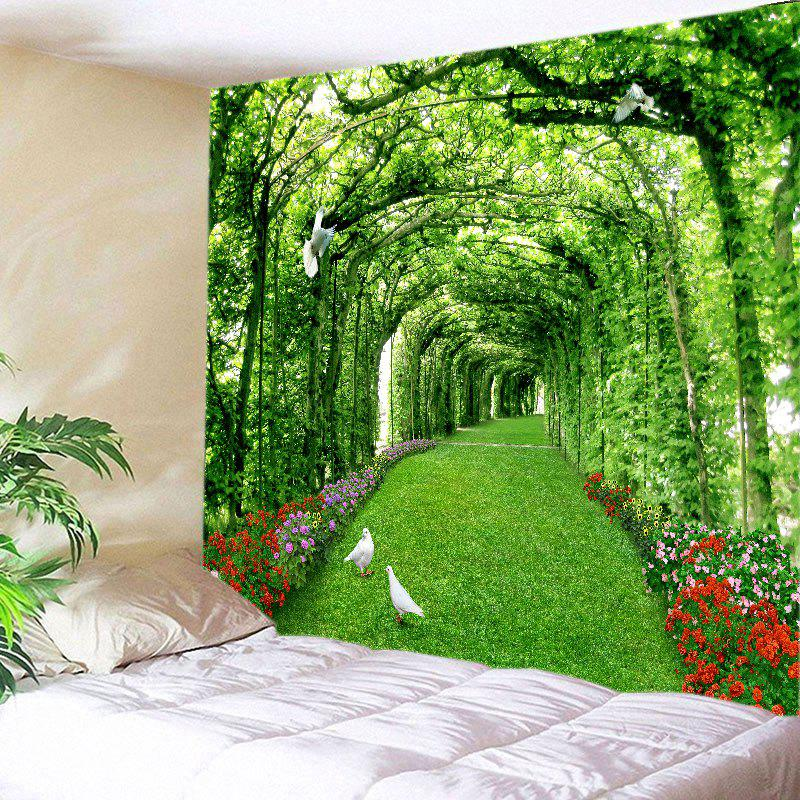 Tree Floral Path Print Tapestry Wall Hanging Art - GREEN W59 INCH * L51 INCH