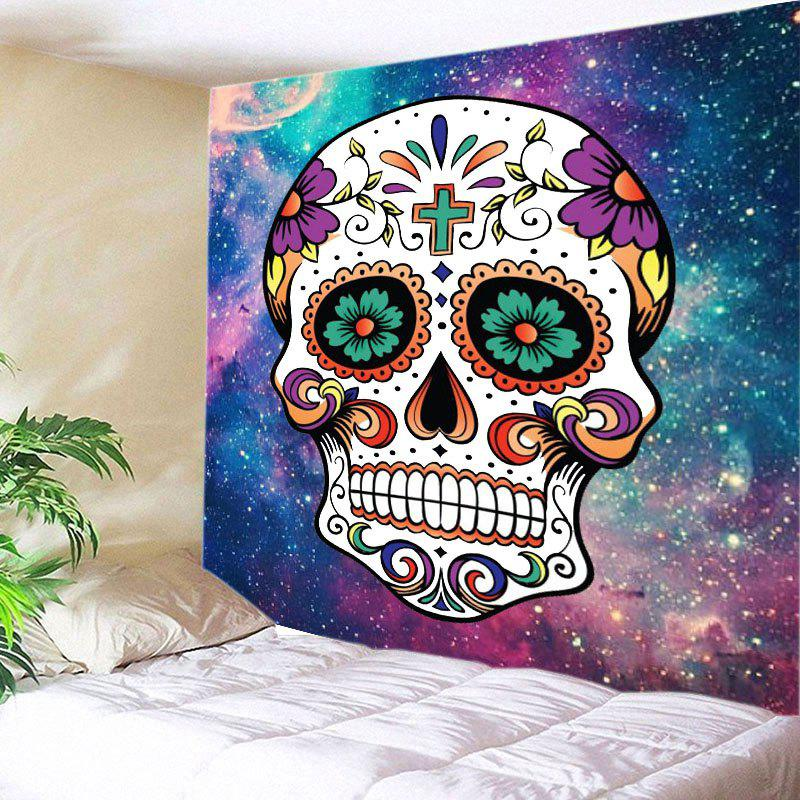 Galaxy Floral Skull Print Tapestry Wall Hanging Art - COLORMIX W91 INCH * L71 INCH