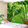 Tree Floral Path Print Tapestry Wall Hanging Art - GREEN W91 INCH * L71 INCH