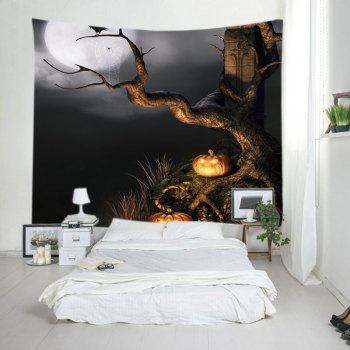 Halloween Moon Tree Print Tapestry Wall Hanging Art - BLACK W59 INCH * L51 INCH
