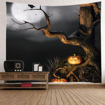 Halloween Moon Tree Print Tapestry Wall Hanging Art - W59 INCH * L59 INCH W59 INCH * L59 INCH