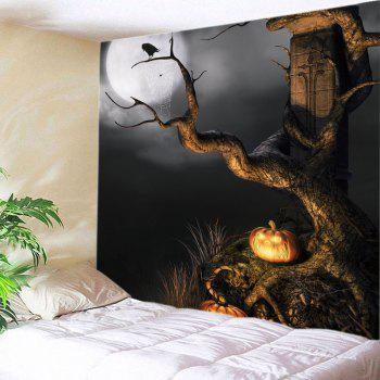 Halloween Moon Tree Print Tapestry Wall Hanging Art - BLACK W91 INCH * L71 INCH