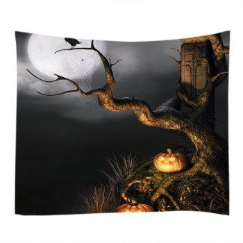 Halloween Moon Tree Print Tapestry Wall Hanging Art - W91 INCH * L71 INCH W91 INCH * L71 INCH