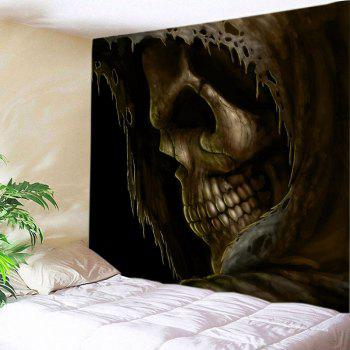 Cloak Skull Print Tapestry Wall Hanging Art - DEEP BROWN W79 INCH * L71 INCH