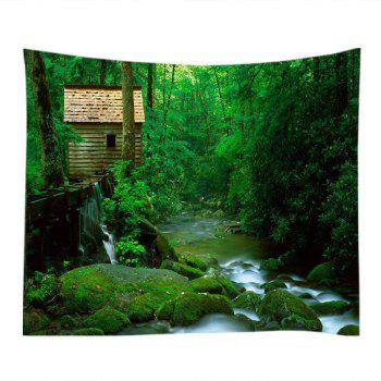 Forest Stream Print Tapestry Wall Hanging Art - GREEN W59 INCH * L59 INCH