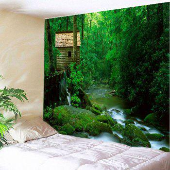 Forest Stream Print Tapestry Wall Hanging Art - GREEN GREEN