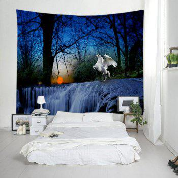Trees Falls Unicorn Print Tapestry Wall Hanging Art - DEEP BLUE DEEP BLUE