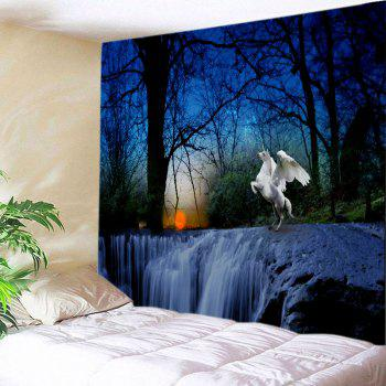 Trees Falls Unicorn Print Tapestry Wall Hanging Art - DEEP BLUE W79 INCH * L71 INCH