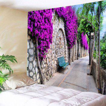 Floral Stone Wall Path Print Tapestry Wall Hanging Art