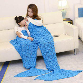Fish Scale Pattern Parent-child Knitted Mermaid Blanket
