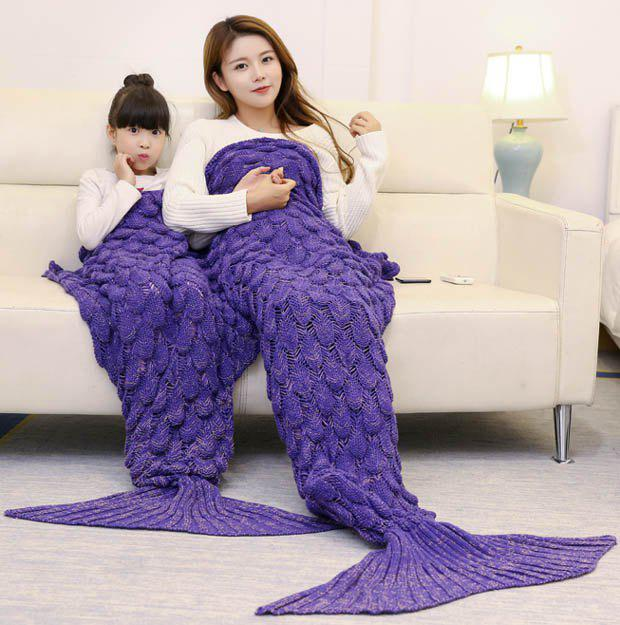Fish Scale Pattern Parent-child Knitted Mermaid Blanket - PURPLE 180*145CM