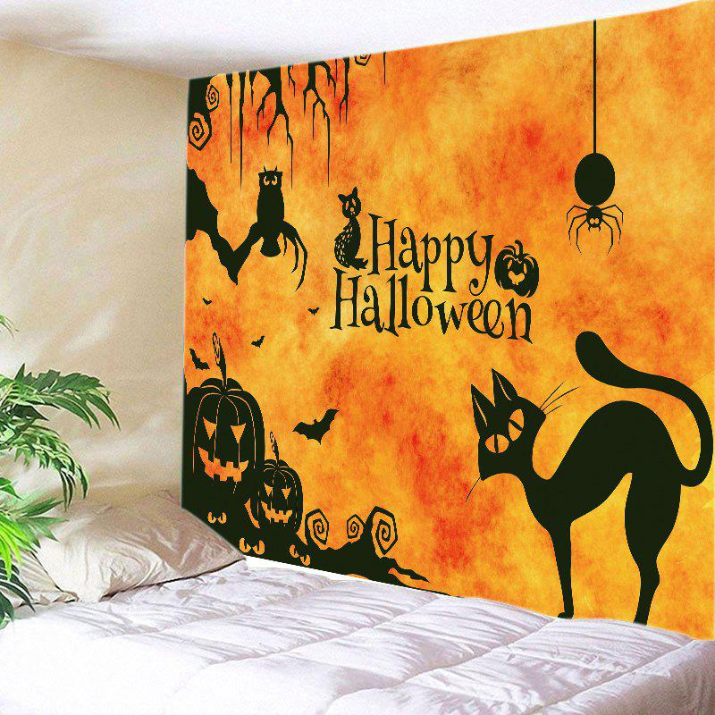 Happy Halloween Animals Print Tapestry Wall Hanging Art halloween spook house print wall tapestry