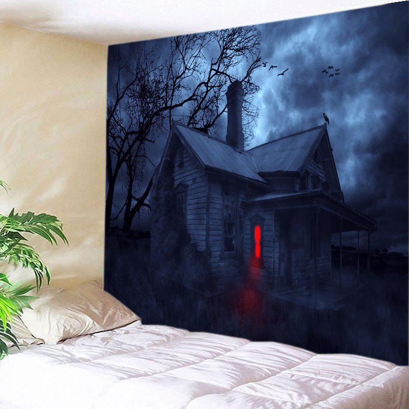 Halloween Night House Print Tapestry Wall Hanging Art crow haunted house halloween wall tapestry
