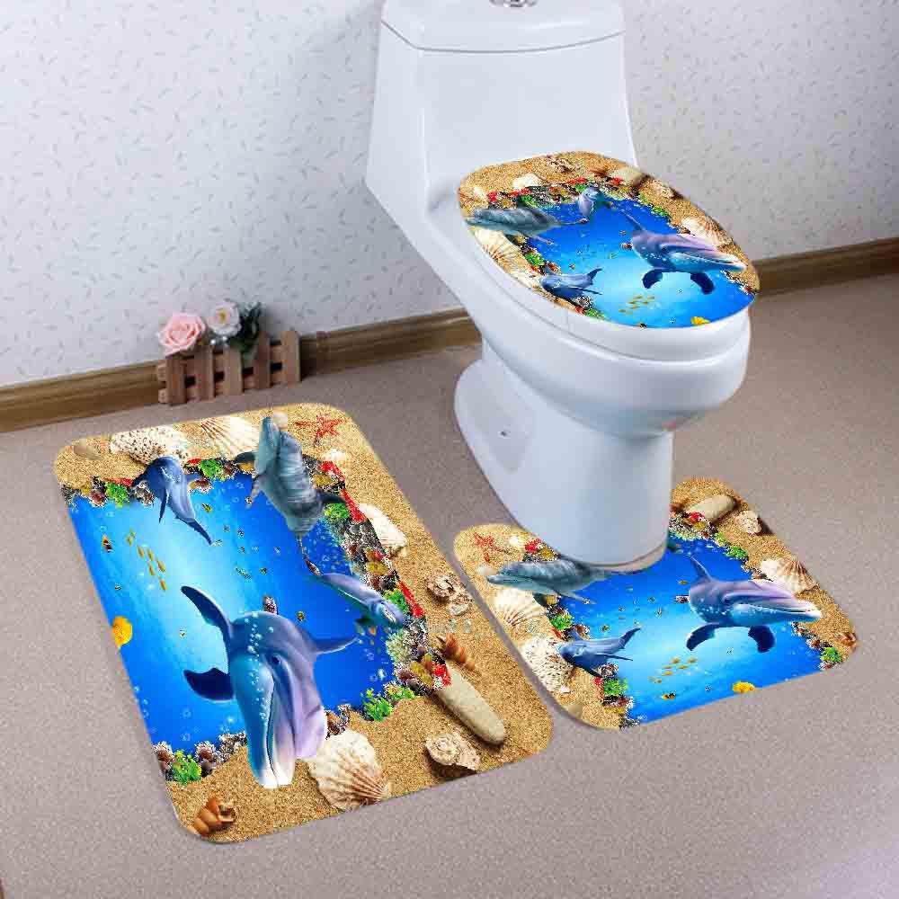 Beach Ocean Dolphin Pattern 3 Pcs Bathroom Toilet Mat halloween bloody hand pattern 3 pcs bathroom toilet mat