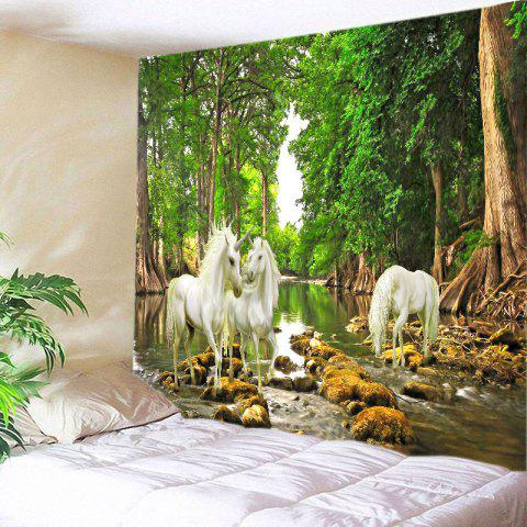 Forest River Unicorn Print Tapestry Wall Hanging Art - GREEN W91 INCH * L71 INCH