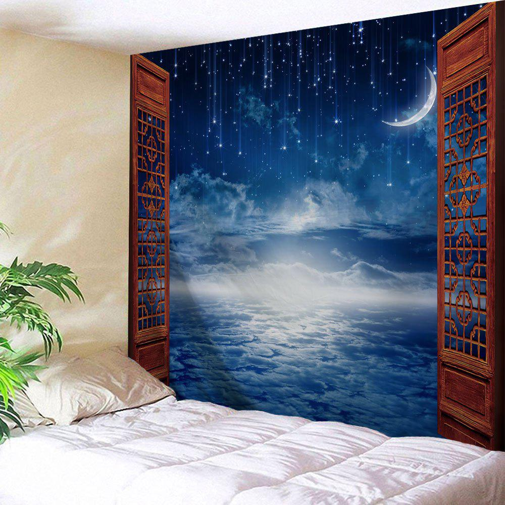 Window Moon Starry Sky Print Tapestry Wall Hanging Art wall hanging art decor colorful starry print tapestry