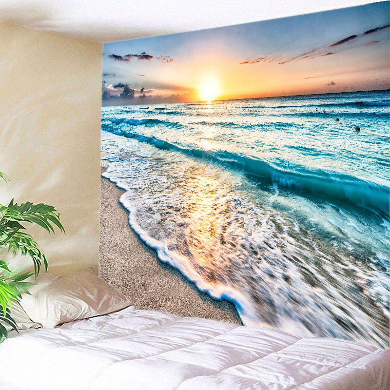 Sunrise Beach Waves Print Tapestry Wall Hanging Art - LAKE BLUE W91 INCH * L71 INCH
