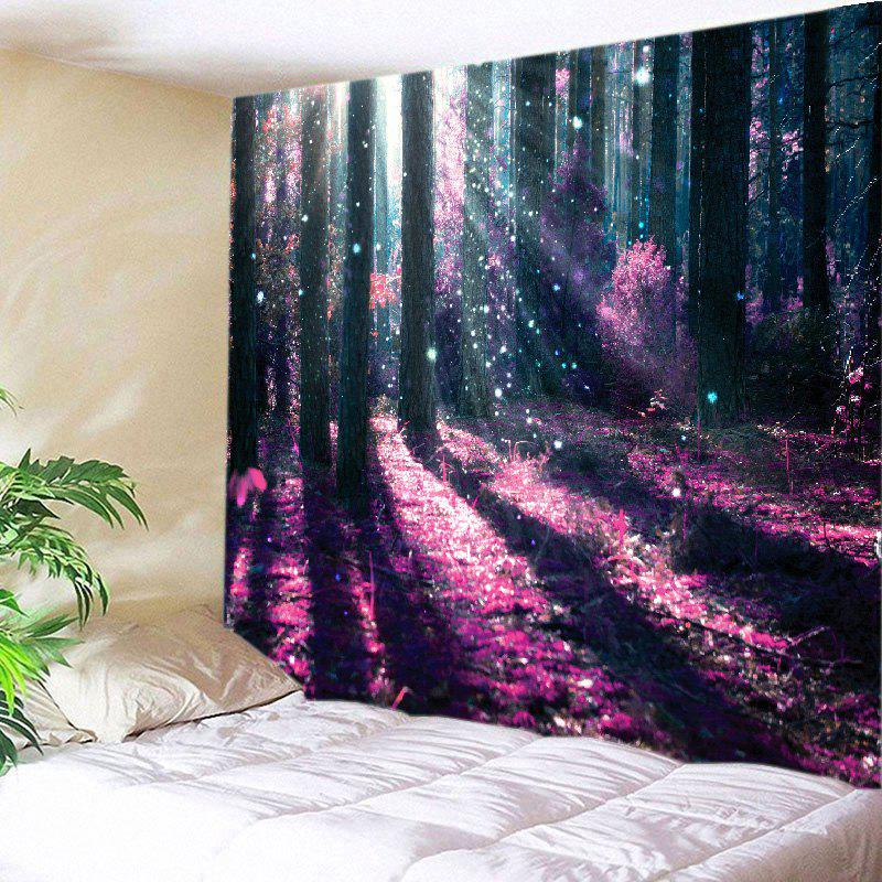 Sunlight Forest Flowers Print Tapestry Wall Hanging Art wall hanging art decor sunlight forest path print tapestry