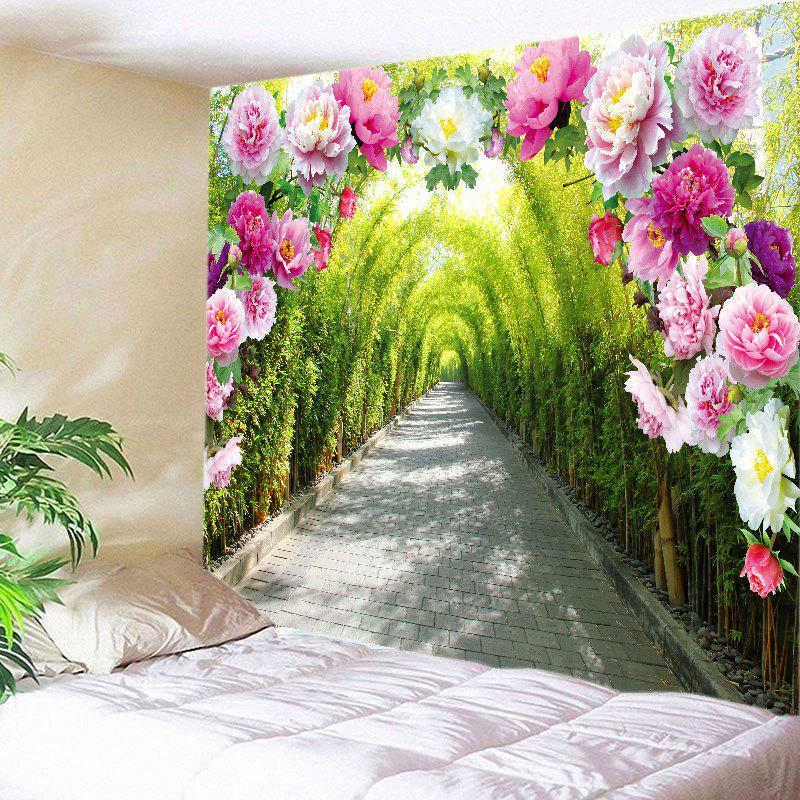 Flowers Bamboo Forest Path Print Tapestry Wall Hanging Art forest path print tapestry wall hanging art