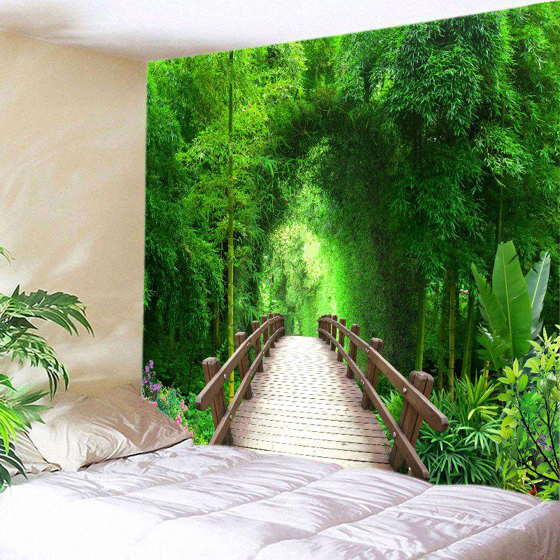 Bridge Bamboo Forest Print Tapestry Wall Hanging Art wall hanging art decor bamboo forest print tapestry