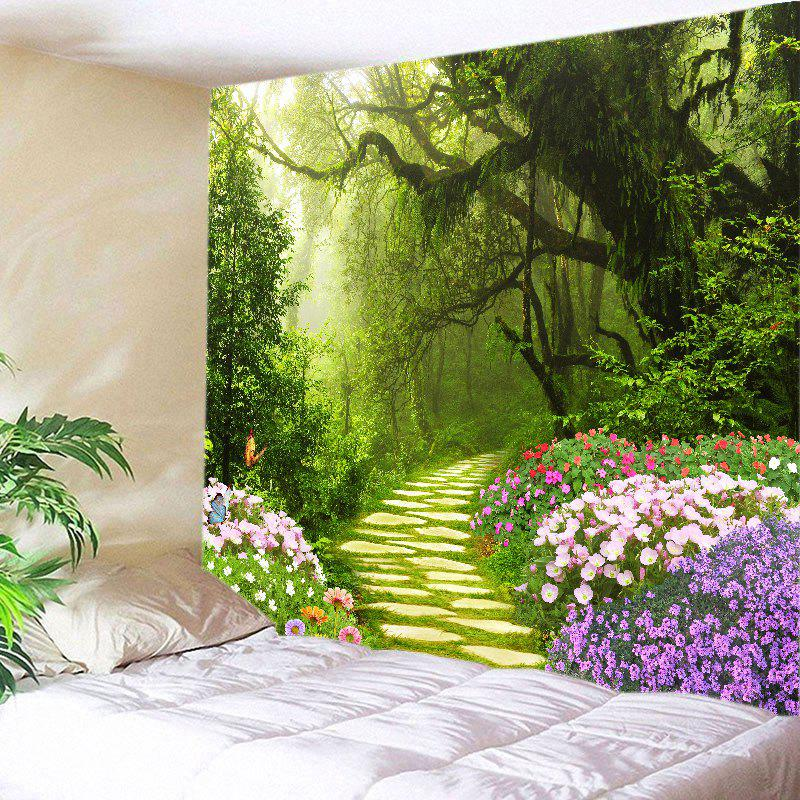 Floral Forest Path Print Tapestry Wall Hanging Art forest wooden bridge print tapestry wall hanging art