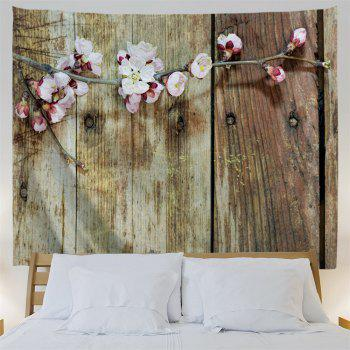 Plank Plum Blossom Print Vintage Wall Tapestry - WOOD W91 INCH * L71 INCH