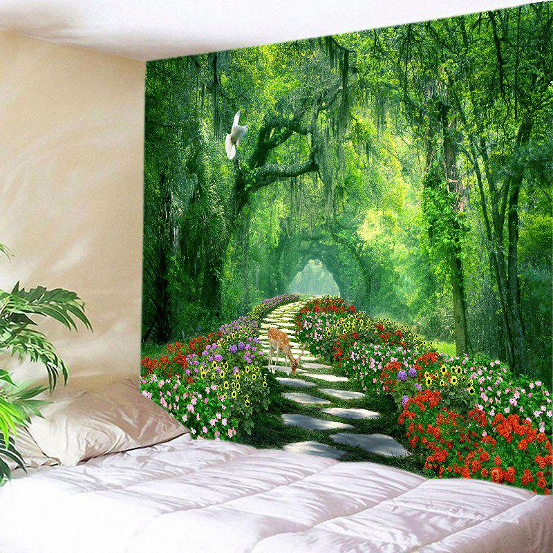 Forest Flowers Path Deer Print Tapestry Wall Hanging Art forest wooden bridge print tapestry wall hanging art