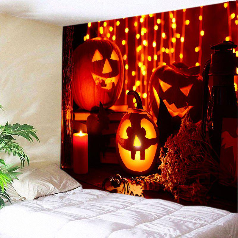 Halloween Pumpkin Candle Print Tapestry Wall Hanging Art - DARK RED W91 INCH * L71 INCH