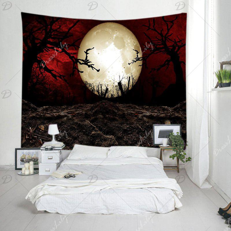 Halloween Moon Night Print Tapestry Wall Hanging Art - COLORMIX W91 INCH * L71 INCH