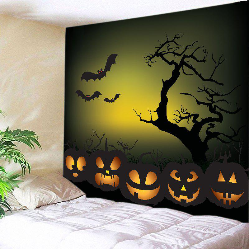 Halloween Night Pumpkins Print Tapestry Wall Hanging Art - BLACK W79 INCH * L59 INCH