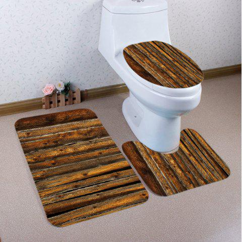Vintage Wood Flooring Pattern 3 Pcs Bathroom Toilet Mat - BROWN