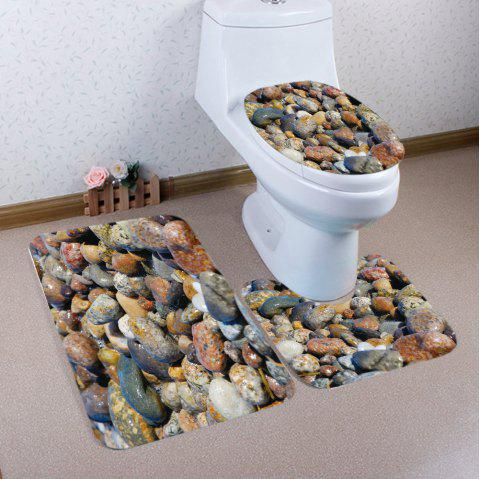 Sea Stones Pattern 3 Pcs Bathroom Toilet Mat - multicolore