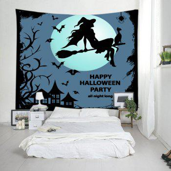 Halloween Party Night Print Tapestry Wall Hanging Art - BLACK W91 INCH * L71 INCH