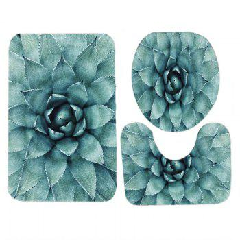 Succulents Pattern 3 Pcs Bathroom Toilet Mat - GREEN