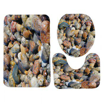 Sea Stones Pattern 3 Pcs Bathroom Toilet Mat - multicolorcolore