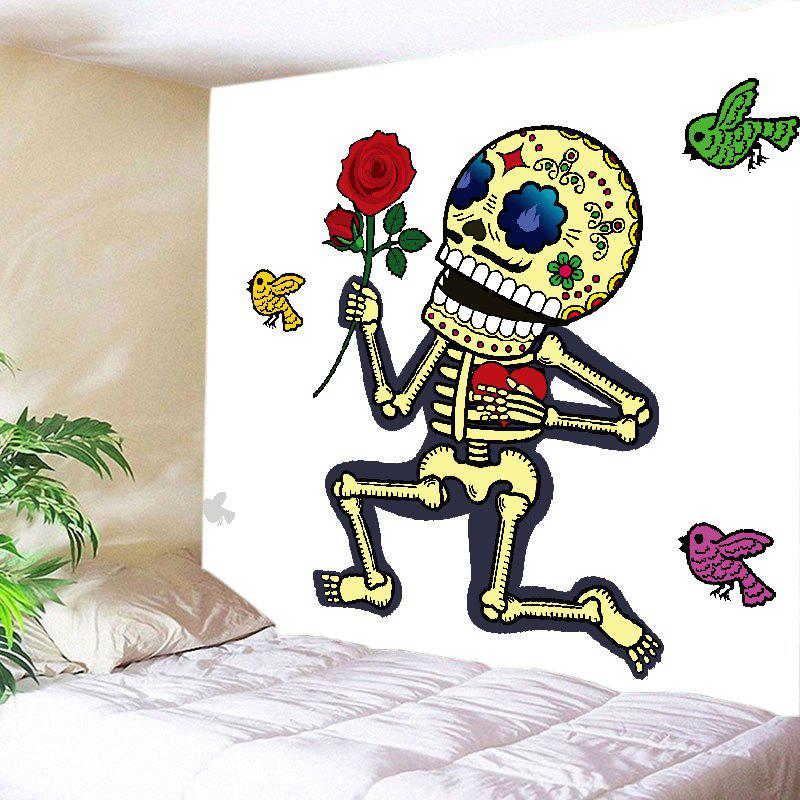 Skeleton Rose Print Tapestry Wall Hanging Art - WHITE W91 INCH * L71 INCH