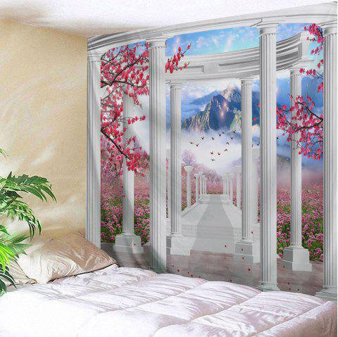 Pavilion Flower Mountain Print Tapestry Wall Hanging Art - COLORMIX W79 INCH * L71 INCH