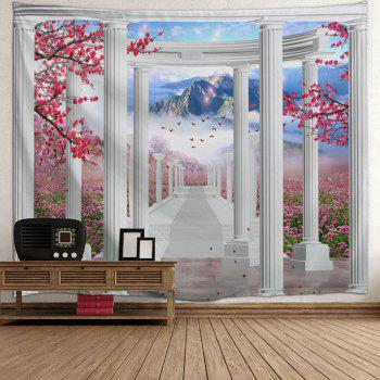 Pavilion Flower Mountain Print Tapestry Wall Hanging Art - COLORMIX COLORMIX