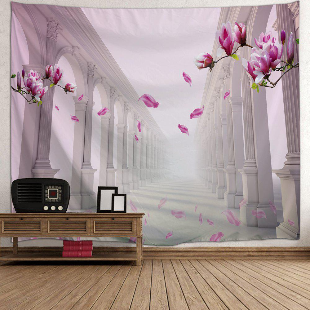 Flower Corridor Print Tapestry Wall Hanging Art - PINK W91 INCH * L71 INCH