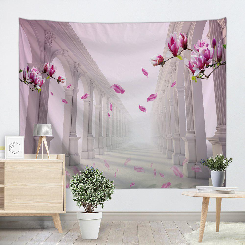 Flower Corridor Print Tapestry Wall Hanging Art - PINK W59 INCH * L59 INCH