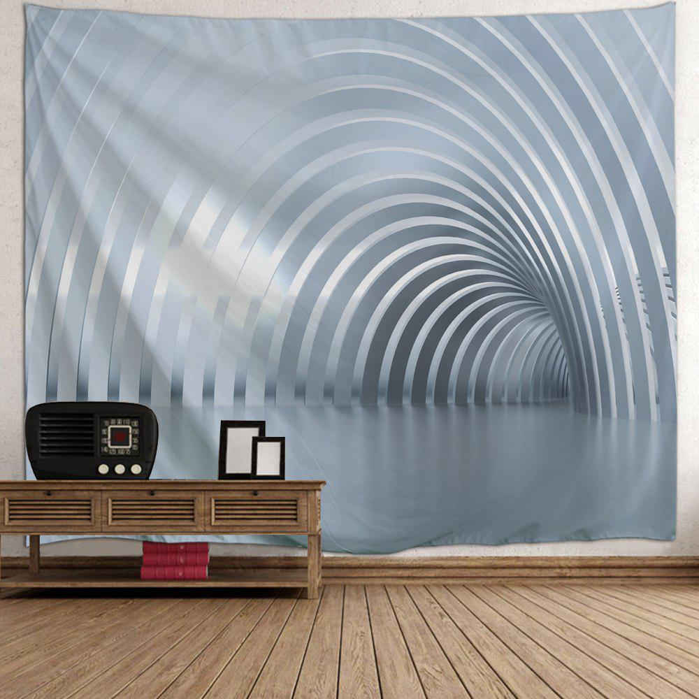 Curved Corridor Print Tapestry Wall Hanging Art - GRAY W79 INCH * L71 INCH
