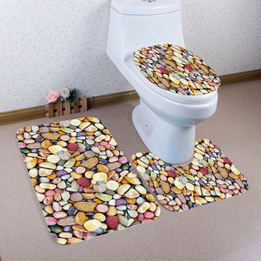 Colorful Stones Pattern 3 Pcs Bathroom Toilet Mat - COLORMIX