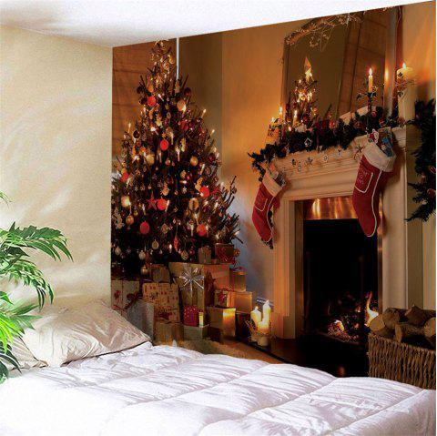 Christmas Fireplace Print Wall Tapestry - COLORMIX W59 INCH * L59 INCH