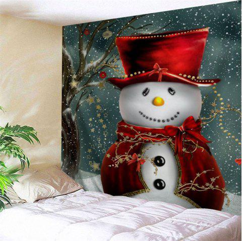 Christmas Snowman Printed Bedroom Tapestry - COLORMIX W79 INCH * L71 INCH