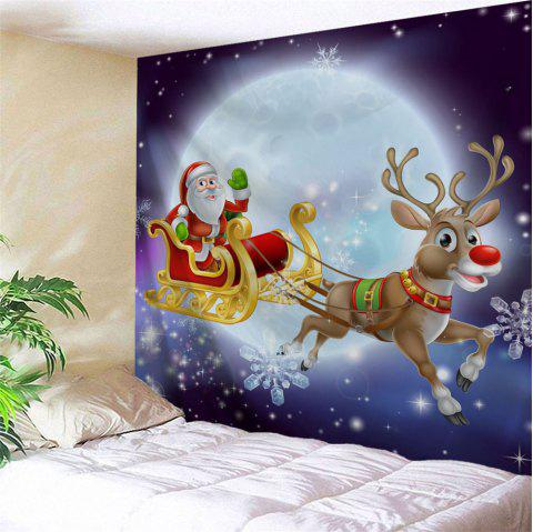 Christmas Sled Moon Night Wall Art Tapestry - COLORMIX W91 INCH * L71 INCH