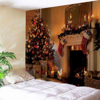 Christmas Fireplace Print Wall Tapestry